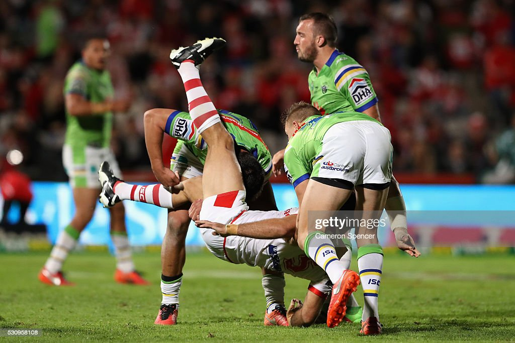 Jason Nightingale of the Dragons is tackled during the round 10 NRL match between the St George Illawarra Dragons and the Canberra Raiders on May 12, 2016 in Sydney, Australia.