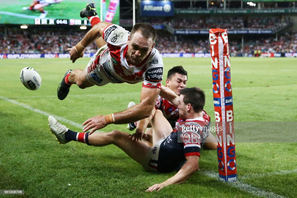 Jason Nightingale of the Dragons is tackled in to touch during the round eight NRL match between the St George Illawara Dragons and Sydney Roosters at Allianz Stadium on April 25, 2018 in Sydney, Australia.