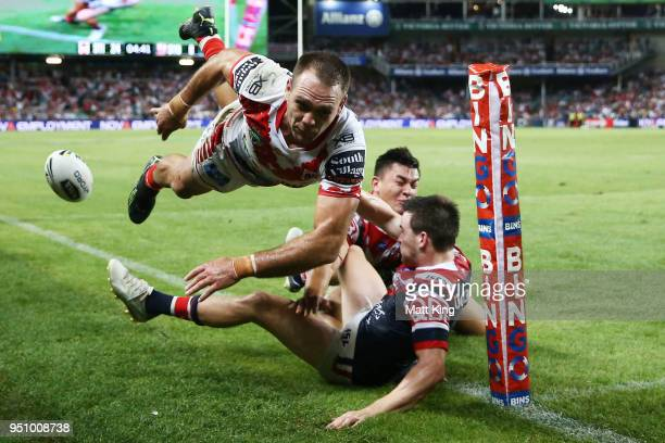 Jason Nightingale of the Dragons is tackled in to touch during the round eight NRL match between the St George Illawara Dragons and Sydney Roosters...