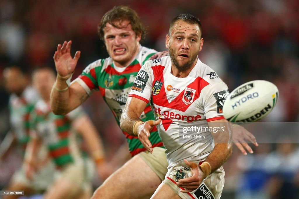 Jason Nightingale of the Dragons passes during the round five NRL match between the St George Illawarra Dragons and the South Sydney Rabbitohs at UOW Jubilee Oval on April 6, 2018 in Sydney, Australia.