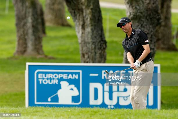 Jason Norris of Australia chips onto the ninth green during the third round on day four of Andalucia Valderrama Masters at Real Club Valderrama on...
