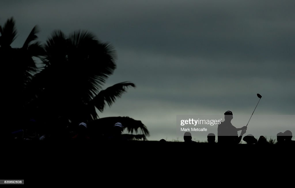 Jason Norris of Australia hits his tee shot on the 11th hole during the 2017 Fiji International at Natadola Bay Championship Golf Course on August 20, 2017 in Suva, Fiji.