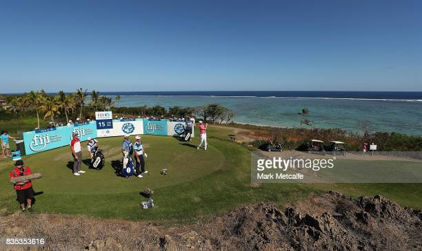 Jason Norris of Australia hits his tee shot on the 15th hole during day three of the 2017 Fiji International at Natadola Bay Championship Golf Course...