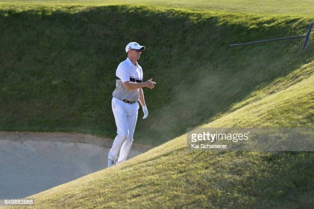 Jason Norris of Australia reacting during day one of the New Zealand Open at The Hills on March 9 2017 in Queenstown New Zealand