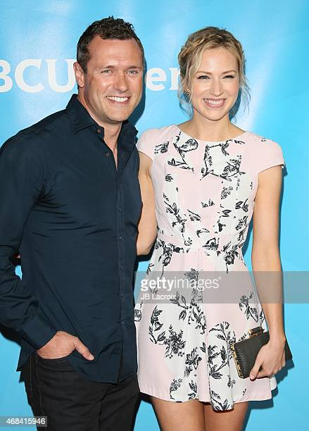 Jason O'Mara and Beth Riesgraf attend the 2015 NBCUniversal Summer Press Day held at the The Langham Huntington Hotel and Spa on April 02 2015 in...
