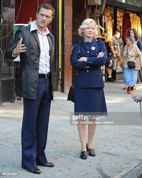 Jason O'Mara and Gretchen Mol at the filming on Orchard Street of the TV Series Life On Mars this scene takes place in the 1970's