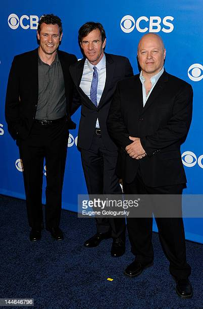Jason O'Mara Dennis Quaid and Michael Chiklis attend the CBS Upfront 2012 at The Tent at Lincoln Center on May 16 2012 in New York City