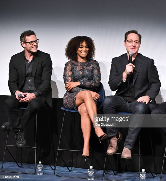 Jason O'Mara Frances Turner and Brennan Brown speak onstage at Amazon Prime Video's The Man In The High Castle Season Four Premiere Panel during the...