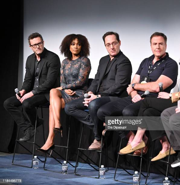 Jason O'Mara Frances Turner Brennan Brown and David Scarpa speak onstage at Amazon Prime Video's The Man In The High Castle Season Four Premiere...