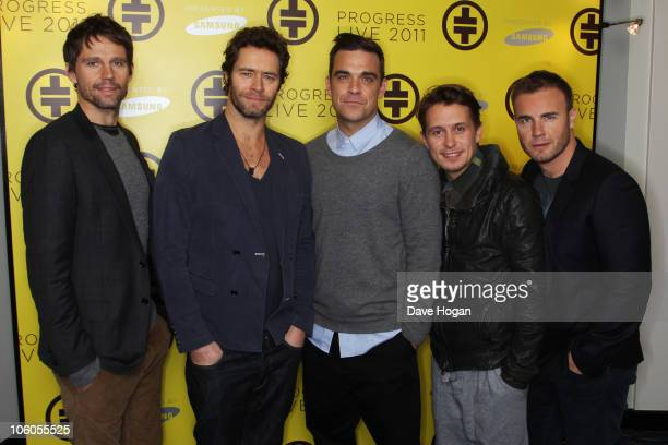 Jason Orange Howard Donald Robbie Williams Mark Owen and Gary Barlow of Take That attend a press conference to announce their new stadium tour...