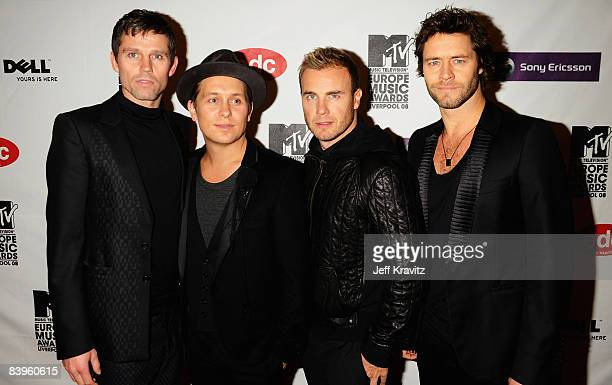 Jason Orange Mark Owen Gary Barlow and Howard Donald of Take That arrive for the 2008 MTV Europe Music Awards held at at the Echo Arena on November 6...