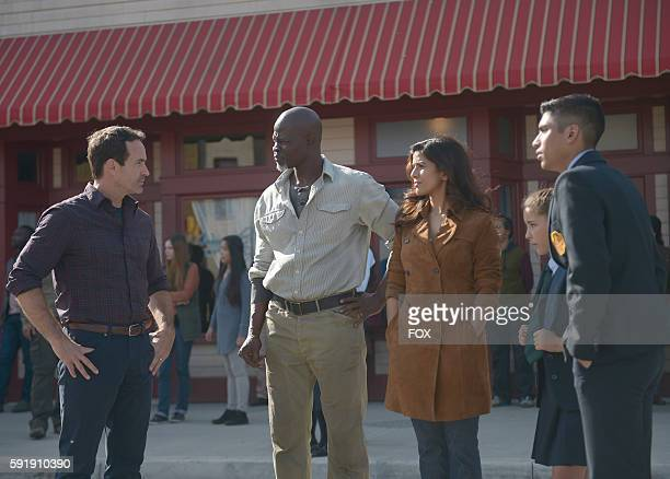 Jason Patric Djimon Hounsou Nimrat Kaur guest star Emma Tremblay and guest star Michael Garza in the Once Upon A Time in Wayward Pines episode of...