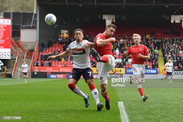 Jason Pearce and Marcus Tavernier in action during the Sky Bet Championship match between Charlton Athletic and Middlesbrough at The Valley London on...