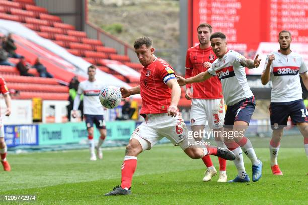 Jason Pearce in action during the Sky Bet Championship match between Charlton Athletic and Middlesbrough at The Valley London on Saturday 7th March...