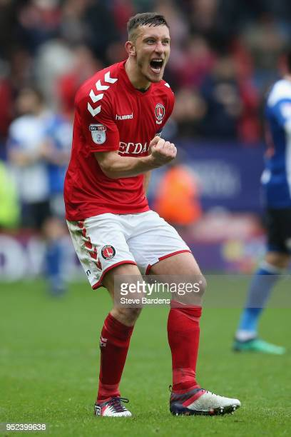 Jason Pearce of Charlton Athletic celebrates their victory after the Sky Bet League One match between Charlton Athletic and Blackburn Rovers at The...