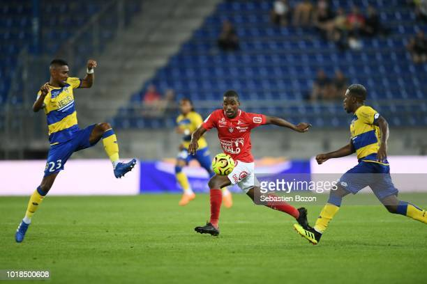 Jason Pendant of Sochaux Ferris N Goma of Brest and Jeando Fuchs of Sochaux during the French Ligue 2 match between Sochaux and Brest at Stade...