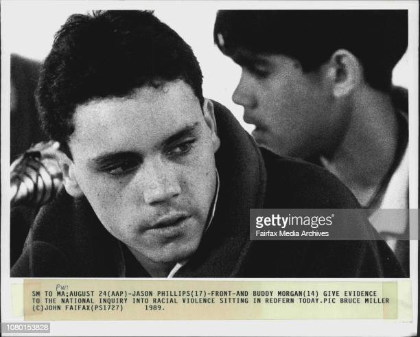Jason Phillips frontand Buddy Morgan give evidence to the national inquiry into racial violence sitting in Redfern today August 24 1989