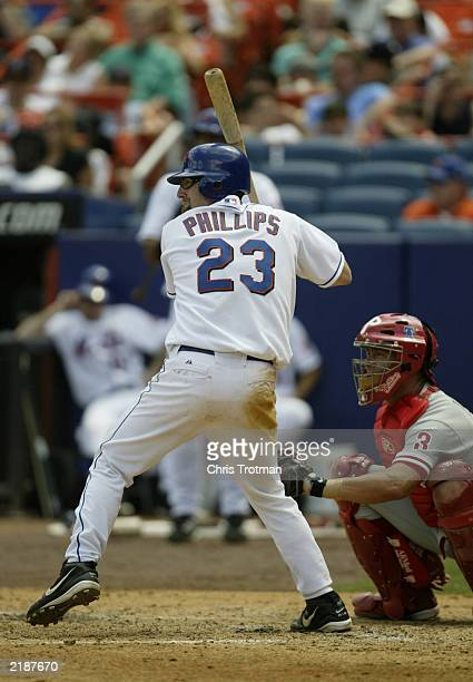 Jason Phillips of the New York Mets bats against the Philadelphia Phillies on July 12, 2003 at Shea Stadium in Flushing, New York. The Phillies...