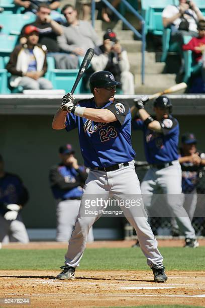 Jason Phillips of the New York Mets bats against the Washington Nationals during MLB Spring Training action on March 2, 2005 at the Space Coast...