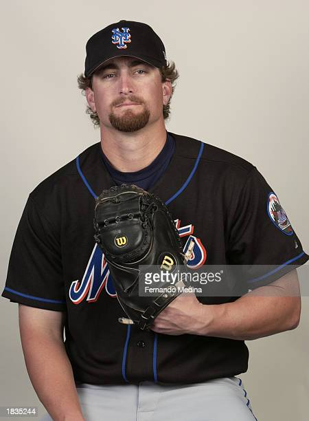 Jason Phillips of the New York Mets poses for a portrait during media day at Thomas J. White Stadium on February 25, 2003 in Port St. Lucie, Florida.