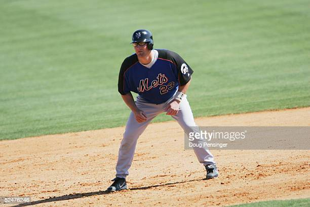 Jason Phillips of the New York Mets prepares to run the bases against the Washington Nationals during MLB Spring Training action on March 2, 2005 at...