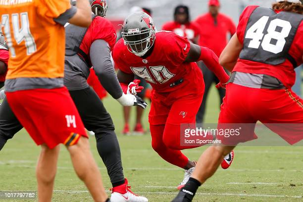 Jason PierrePaul of the Bucs rushes the passer during the joint training camp work out between the Tampa Bay Buccaneers and the Tennessee Titans on...