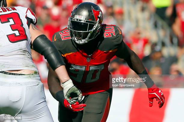 Jason PierrePaul of the Bucs rushes the passer during the regular season game between the Atlanta Falcons and the Tampa Bay Buccaneers on December 30...