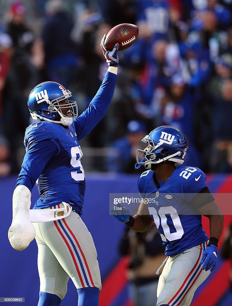 Jason Pierre-Paul #90 of the New York Giants celebrates after recovering a fumble in the second quarter against the New York Jets at MetLife Stadium on December 6, 2015 in East Rutherford, New Jersey.