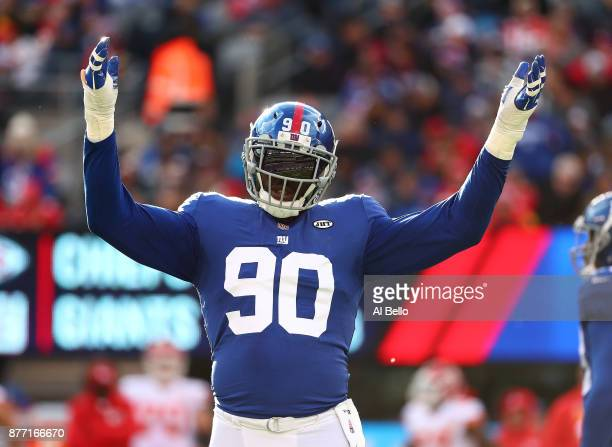 Jason PierrePaul of the New York Giants in action against the Kansas City Chiefs during their game at MetLife Stadium on November 19 2017 in East...