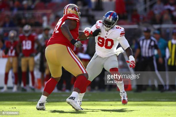 Jason PierrePaul of the New York Giants rushes against Trent Brown of the San Francisco 49ers during their NFL game at Levi's Stadium on November 12...