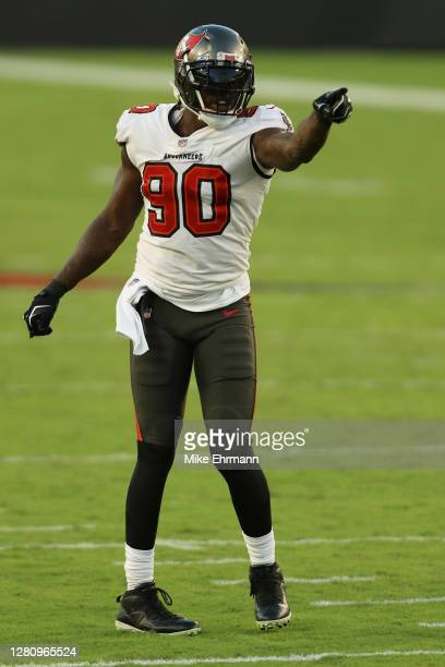 Jason Pierre-Paul of the Tampa Bay Buccaneers lines up against the Green Bay Packers during the third quarter at Raymond James Stadium on October 18,...