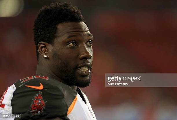 Jason PierrePaul of the Tampa Bay Buccaneers looks on during a preseason game against the Detroit Lions at Raymond James Stadium on August 24 2018 in...