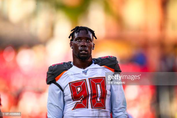 Jason Pierre-Paul of the Tampa Bay Buccaneers looks on in the fourth quarter during the game between the Tampa Bay Buccaneers and the Arizona...