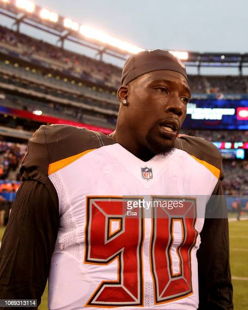 Jason PierrePaul of the Tampa Bay Buccaneers walks on the field after the game against the New York Giants at MetLife Stadium on November 18 2018 in...