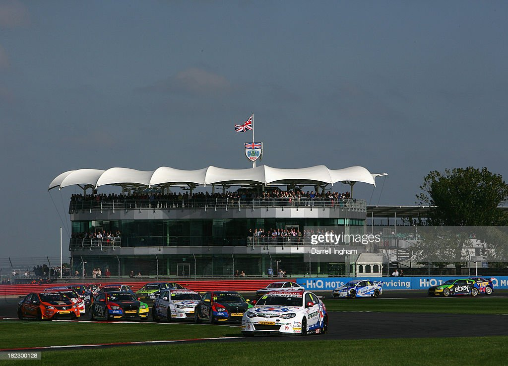 Jason Plato drives the #99 MG KX Momentum Racing MG6 ahead of the field during the Dunlop MSA British Touring Car Championship race at the Silverstone Circuit on September 29, 2013 in Towcester, United Kingdom.