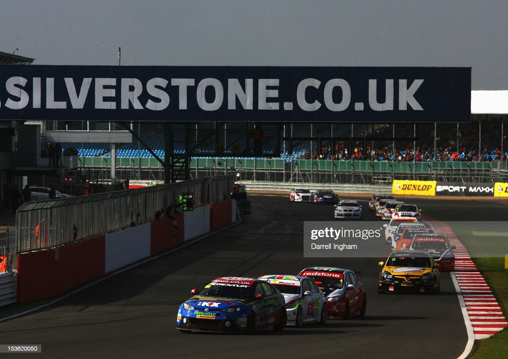 Jason Plato of Great Britain drives the #99 MG KX Momentum Racing MG6 ahead of the field during the Dunlop MSA British Touring Car Championship race at the Silverstone Circuit on October 7, 2012 in Towcester, United Kingdom.