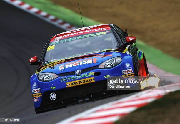 Jason Plato of Great Britain drives the MG KX Momentum Racing MG6 during practice for the Dunlop MSA British Touring Car Championship race at the...