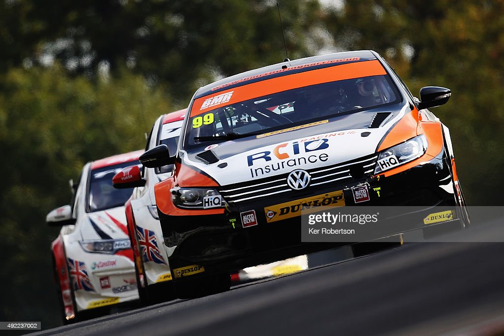 Jason Plato of Team BMR drives during Race One of the Final Round of the Dunlop MSA British Touring Car Championship at Brands Hatch on October 11, 2015 in Longfield, England.