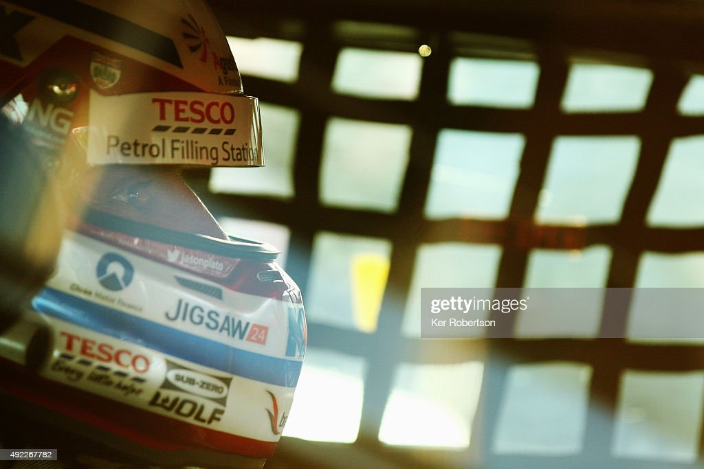 Jason Plato of Team BMR prepares to drive in Race Three of the Final Round of the Dunlop MSA British Touring Car Championship at Brands Hatch on October 11, 2015 in Longfield, England.