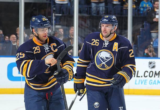 154ddb4e0c9 BUFFALO, NY - FEBRUARY 03: Jason Pominville #29 and Thomas Vanek #26 of the Buffalo  Sabres celebrate a goal against the Florida Panthers on February 3, ...