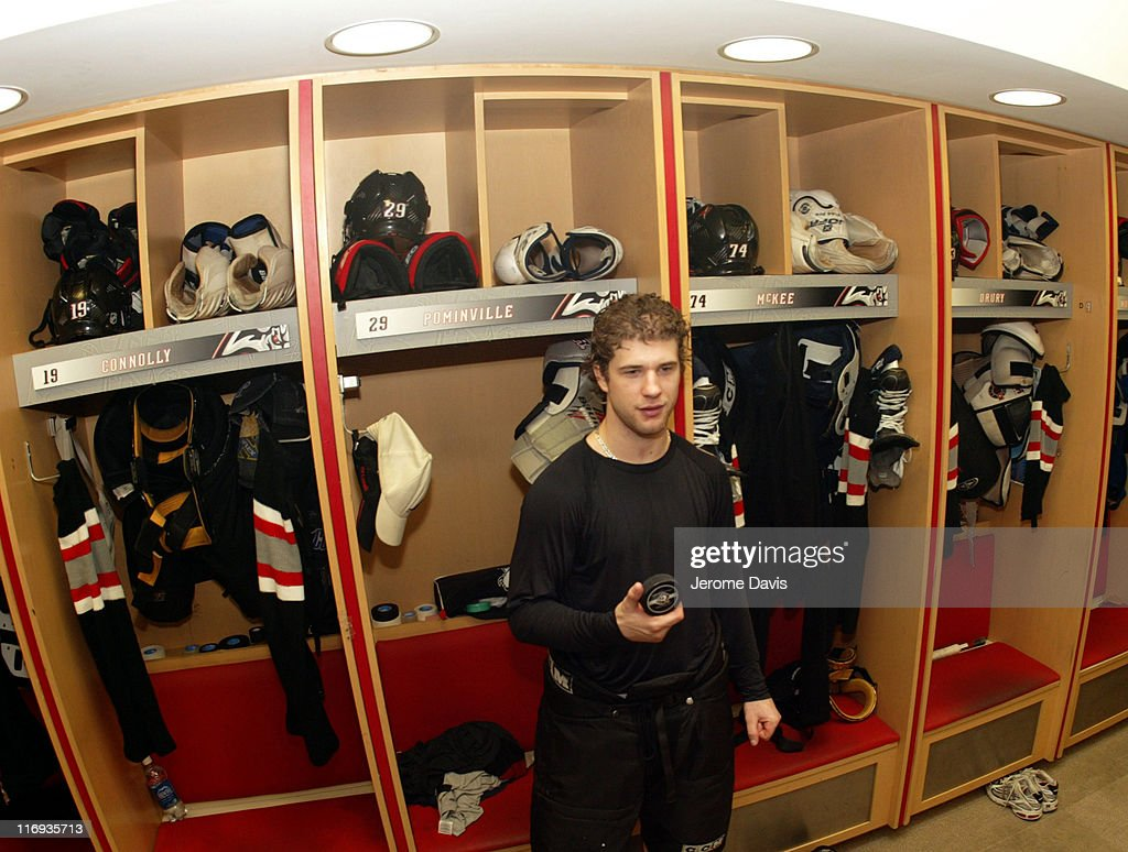 Jason Pominville of the Buffalo Sabres after game two versus the Philadelphia Flyers in the locker room at the HSBC Arena in Buffalo, NY, April 24, 2006. Buffalo defeated Philadelphia 8 -2 .