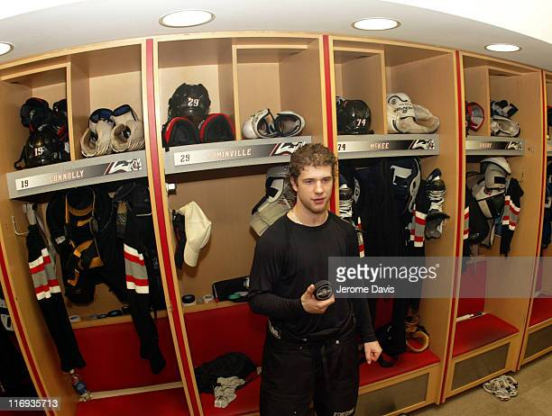 Jason Pominville of the Buffalo Sabres after game two versus the Philadelphia Flyers in the locker room at the HSBC Arena in Buffalo, NY, April 24,...