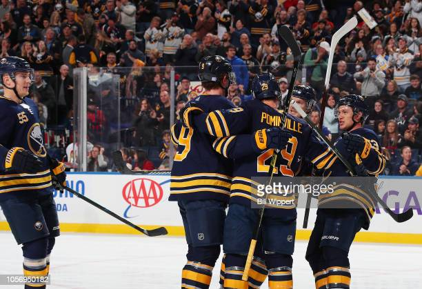 Jason Pominville of the Buffalo Sabres celebrates his first period goal against the Ottawa Senators during an NHL game on November 3 2018 at KeyBank...