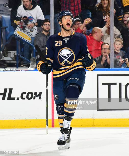 Jason Pominville of the Buffalo Sabres celebrates his second period goal during an NHL game against the Ottawa Senators on November 3 2018 at KeyBank...