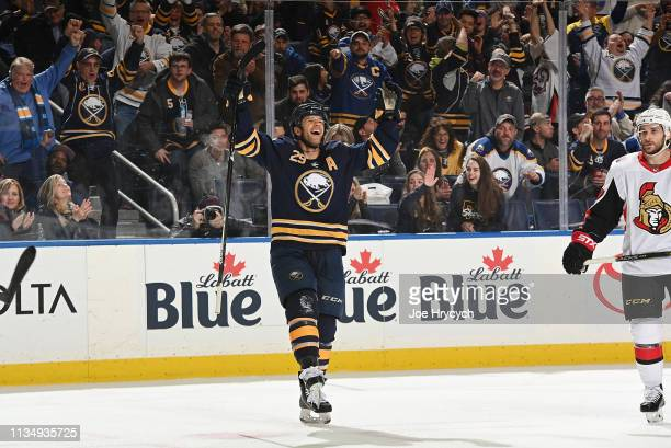 Jason Pominville of the Buffalo Sabres celebrates his third period goal against the Ottawa Senators during an NHL game on April 4, 2019 at KeyBank...