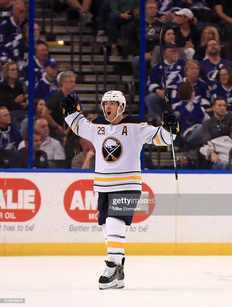 Jason Pominville #29 of the Buffalo Sabres celebrates the game winning goal during a game against the Tampa Bay Lightning at Amalie Arena on February 28, 2018 in Tampa, Florida.