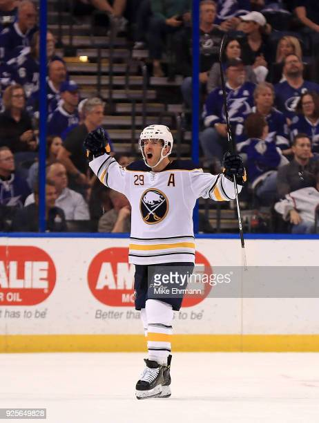 Jason Pominville of the Buffalo Sabres celebrates the game winning goal during a game against the Tampa Bay Lightning at Amalie Arena on February 28...
