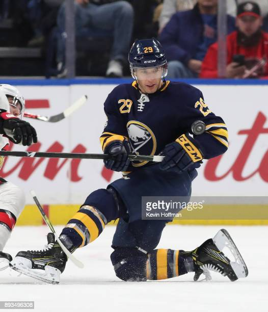 Jason Pominville of the Buffalo Sabres during the game against the Ottawa Senators at the KeyBank Center on December 12 2017 in Buffalo New York