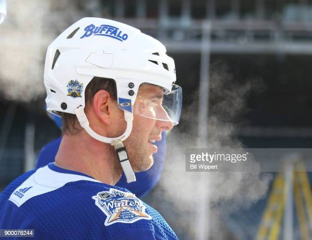 Jason Pominville of the Buffalo Sabres exhales during Practice Day for the 2018 Bridgestone NHL Winter Classic at Citi Field on December 31 2017 in...