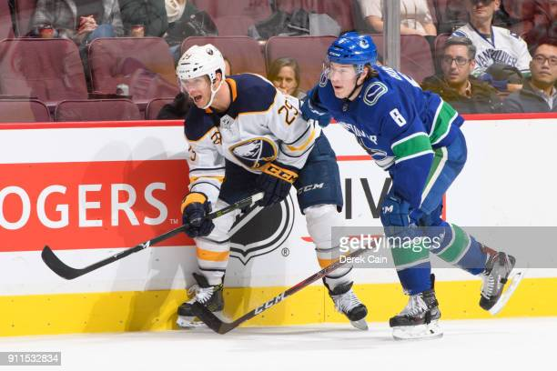 Jason Pominville of the Buffalo Sabres is checked by Brock Boeser of the Vancouver Canucks during their NHL game at Rogers Arena on January 25 2018...